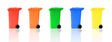 Set of color recycling bins Stock Photography