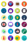 Set of color round business icons. Set of 24 color round business icons Stock Photos