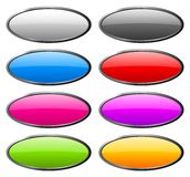 Set of color rounded glass buttons Stock Image