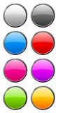 Set of color rounded glass buttons. With light reflection Royalty Free Stock Photos