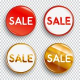 Set of color SALE buttons or badges. Set of color SALE buttons or badges on transparent background. Vector illustration Stock Photos