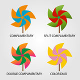 Set of Color schemes. On pinwheel Stock Photography