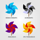 Set of Color schemes. On pinwheel Stock Photo