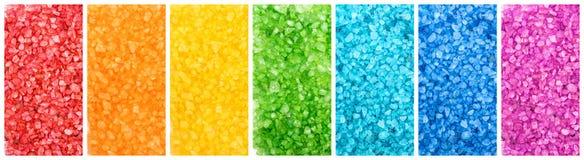 Set of color sea salt, rainbow banners Stock Image