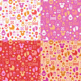 Set of color seamless patterns of baby icons Royalty Free Stock Photography