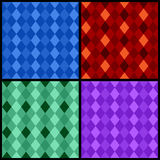 Set of color seamless patterns with rhombus Stock Photography