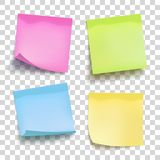 Set of color sheets of note papers. Four sticky notes. Vector. Illustration stock illustration