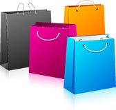 Set of color shopping bags. Royalty Free Stock Photography