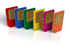 Set of color SIM cards. Set of six color SIM cards on white reflective surface royalty free illustration