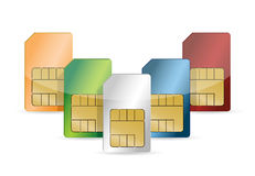 Set of color SIM cards isolated Stock Images