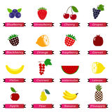 Set of color simple icons - fruits and berries isolated Royalty Free Stock Photos
