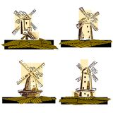 Set of color simple windmills badges. Set of simple vector stylized by line color windmills badges vector illustration