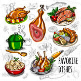 Set color sketch meat, fish, side dishes. Stock Image