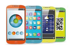 Set of the color smart phones Stock Photo