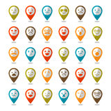 Set of color smiley icons, mapping pins Stock Image