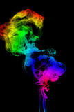 Color Smoke abstract photo, isolated on black background Stock Photography