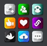 Set of color social network icon buttons with twitter bird cloud Stock Photo