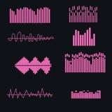 Set color sound waves colorful light audio signal design, digital music . Royalty Free Stock Image