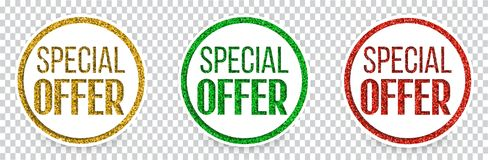 Set of color special offer banners or buttons. Vector illustration Royalty Free Stock Photo
