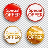 Set of color special offer buttons or badges on transparent background. royalty free illustration