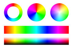 Set of color spectra RGB, wheel circles and stripes. Vector Stock Image