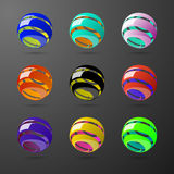 Set of color spiral ball shapes. Stock Image