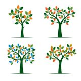 Set of color Spring Tree. Vector Illustration. Stock Images