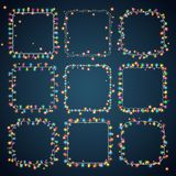 Set of 9 color square garland lights. Glowing christmas lights on dark blue background. Vector seamless square objects. Includes 10 vector brushes festive Stock Image