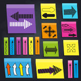 Color sticky notes with arrow icons. Set of color sticky notes with arrow icons. Black chalkboard background royalty free illustration