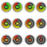 Set of color stopwatch timer icons with marks from 60 to 0 royalty free illustration