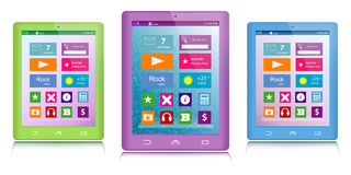 Set of color tablet computers. Set of green, purple and blue tablet computers with color icons on touch screen on white background royalty free illustration