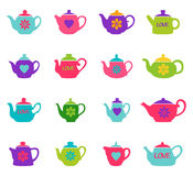 Set of color teapots, vector illustration Royalty Free Stock Image