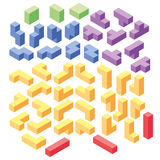 Set of color tetris blocks Stock Photography