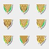 Set of color tortilla or sandwich tacos food stickers set eps10 vector illustration