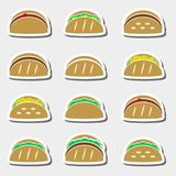 Set of color tortilla tacos food stickers set Stock Image