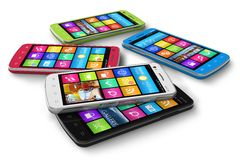 Set of color touchscreen smartphones Royalty Free Stock Photo