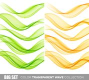 Set of color transparent smoky wave Stock Photography