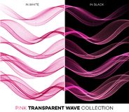 Set of color transparent smoky wave Royalty Free Stock Photo
