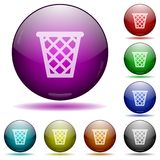 Trash glass sphere buttons. Set of color trash glass sphere buttons with shadows Stock Photos