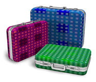 Set of color travel cases Royalty Free Stock Images