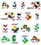 Set of color triangles geometric pattern elements Stock Images