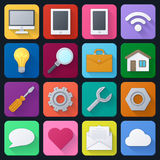 Set of  color universal icons Stock Photos