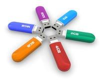 Set of color USB flash drives stock illustration
