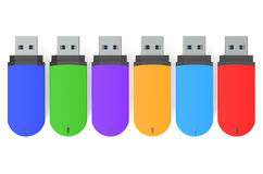Set of color USB flash drives Royalty Free Stock Photo