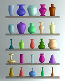 Set of color vase. 3d illustration. high resolution Stock Photography