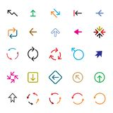 Set of color vector arrows. COLLECTION OF ICONS royalty free illustration