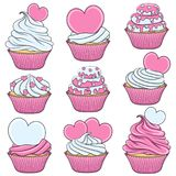 Set of color vector cupcakes with hearts.  objects. Set of color vector cupcakes with hearts.  objects on white Stock Photo