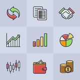 Set of vector business icons. Set of color vector icons related to business and finances. Web graphic design Vector Illustration