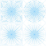 Set of color vector patterns with spider web and drops. Stock Image