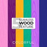 Set of color vector seamless patterns. Wooden texture. Vector illustration for posters, backgrounds, print, wallpaper Royalty Free Stock Photo